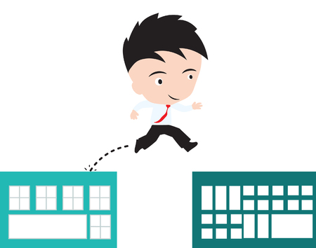 gap: businessman happy to jumping over gap of building to success concept, presented in vector form
