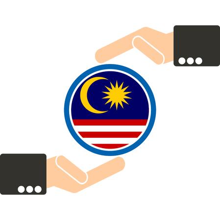 joined hands: empresario de la mano con la bandera de Malasia