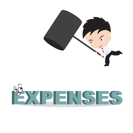 smash: Businessman holding hammer and aiming to smash the wording EXPENSES, reduce costing concept Illustration
