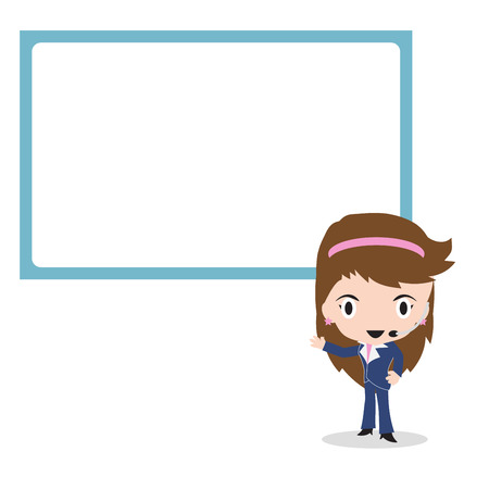 big screen: Business woman presentation in front of big screen on white background, illustration in flat design