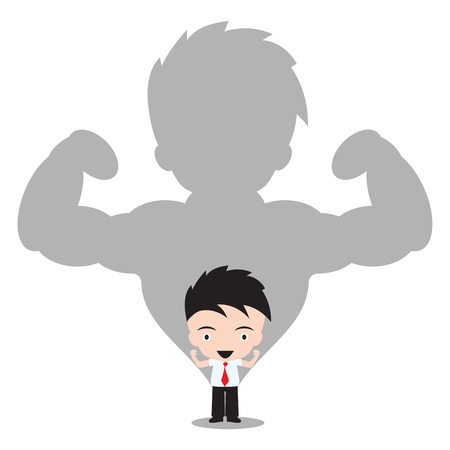 superiority: Strong Businessman in shadow on white background,  illustration in flat design