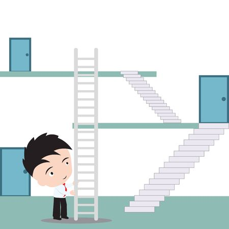 going up: Businessman uses stairway to shortcut for going up to the top, illustration in flat design