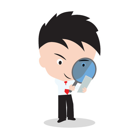 observer: Businessman looking through a magnifying glass for searching on white backgrond, illustration in flat design