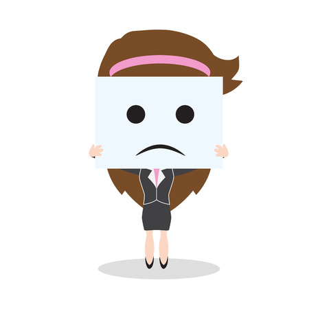 Business woman showing sadness face on white background, illustration in flat design