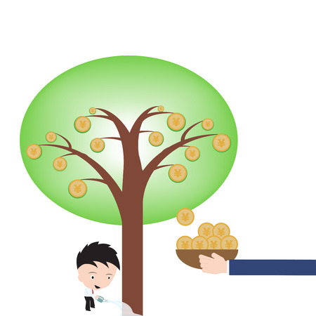 yen sign: Businessman happy and pot watering growing money tree, Yen sign on white background, ilusstration in flat design