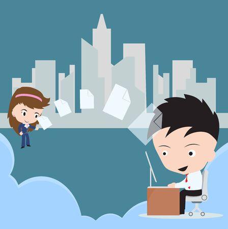 desktop pc: Business man send document, fire sharing to woman via cloud computing technology concept with desktop PC Illustration