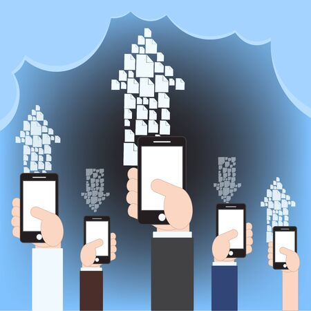 via: fire sharing via cloud computing technology concept with mobile phone Illustration