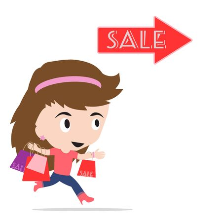 woman cartoon with shopping bag going at sale festival event, on white background
