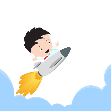 businessman happy and flying with rocket for growing business start up on white background Ilustrace