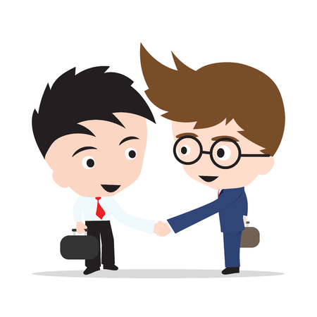 Business man handshake on white background
