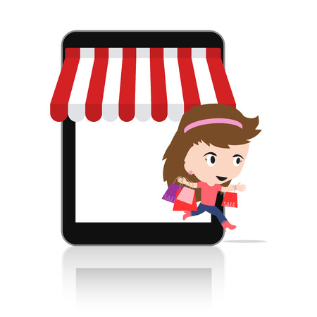 Woman happy to do Online shopping via tablet Mobile e-commerce online store concept Ilustrace