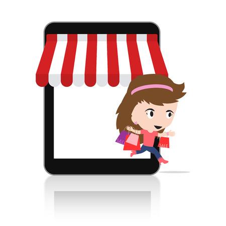 via: Woman happy to do Online shopping via tablet Mobile e-commerce online store concept Illustration