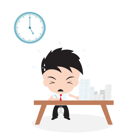 lot of Jobs to do and businessman working with rush time, on white background Ilustrace