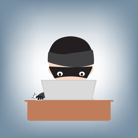 Hacker hacking password on notebook on table, illustration vector in flat design