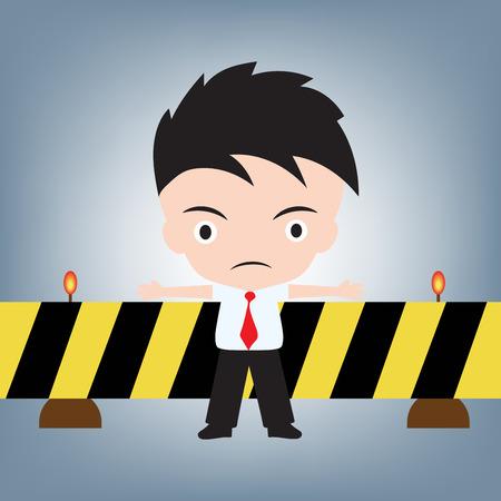 rejection: Businessman standing denied or reject and cross emergency line, illustration vector in flat design Illustration