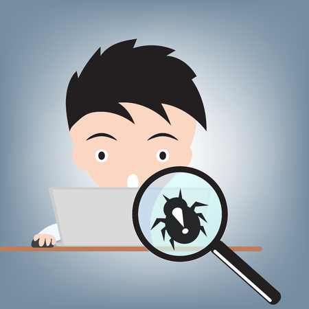 Business man work with computer and magnifying glass with bug, internet virus crime concept, illustration vector in flat design