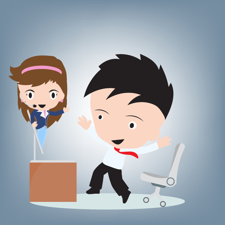 remote communication: female customer service wearing headsets showup on computer and user happy for remote support, client services and communication concept, illustration vector in flat design