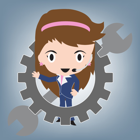female customer service wearing headsets and wrench for support, client services and communication concept, illustration vector in flat design