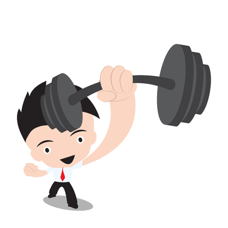 stronger: Businessman stronger and holding dumbbell,vector illustration in flat design on white background