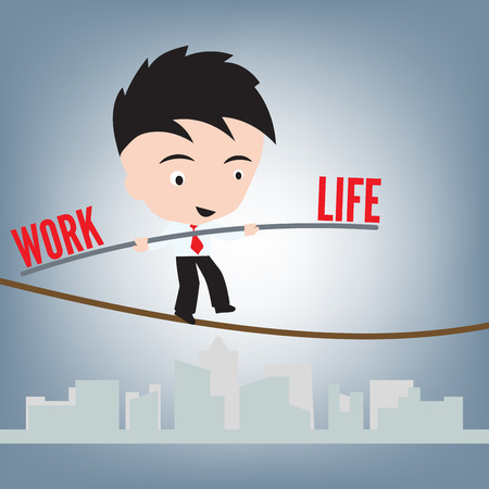 inconstant: Business Man standing work life balance on wire or rope, management concept, illustration vector in flat design