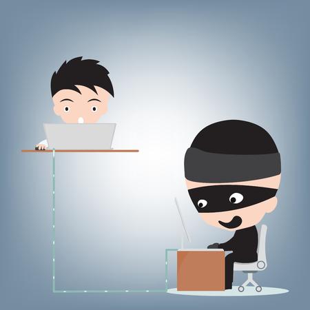 hacked: Business man hacked data by hacker, internet crime concept, illustration vector in flat design Illustration