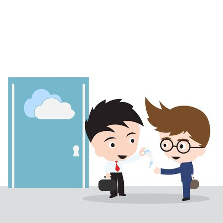 semantic: Business man giving keys for file sharing on cloud computing with customer, illustration vector in flat design