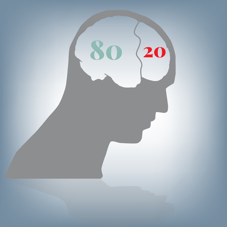 80 20 rule, thinking business in head and brain, vector illustration in flat design