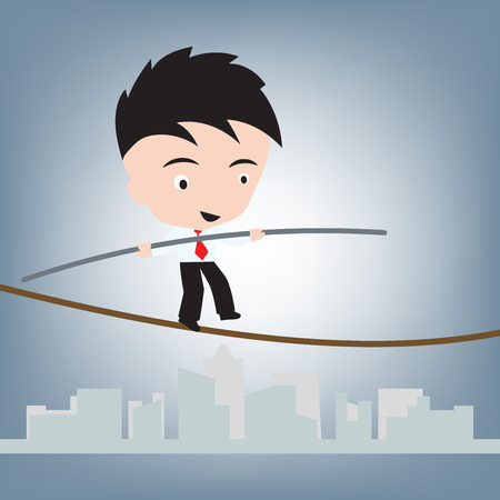 worried executive: Business Man standing balance on wire or rope, risk management concept, illustration vector in flat design