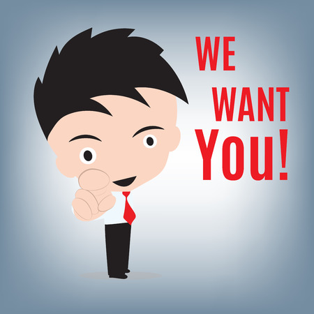 I want you, business man and pointing with finger for vacancy concept, illustration in flat design
