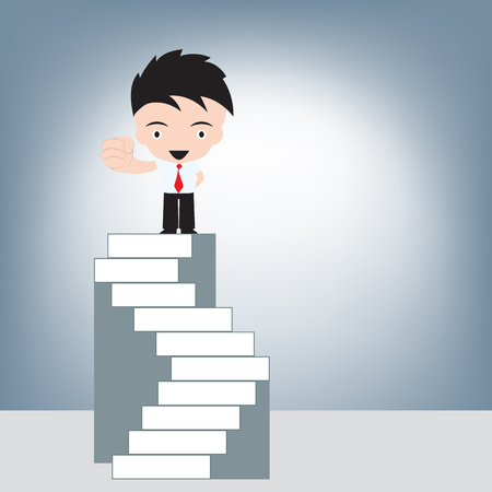 Businessman standing on highest stairs, illustration vector in flat design