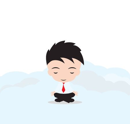 Businessman is meditating and relaxing with cloud computing in lotus pose,Vector illustration, on white background