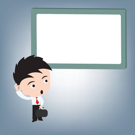 Business man confused and whiteboard, illustration vector in flat design Ilustrace