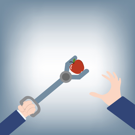 competitor: abstract of Businessman hand try to grab apple and competitor take with tools, vector illustration in flat design