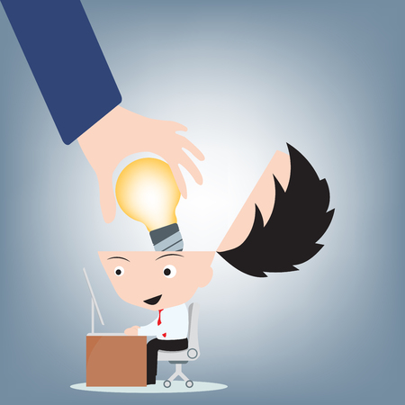 Businessman hand open head and put light bulb idea into brain, creative concept illustration vector in flat design Ilustrace