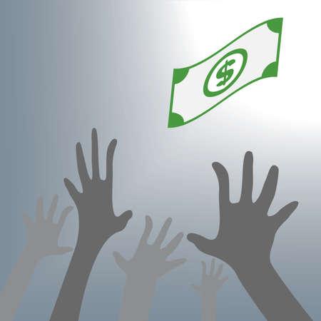 falling money: Human Hand need money cash falling money. Vector Illustration., vector illustration in flat design Illustration