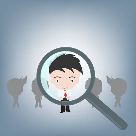 searching people for the right job by magnifying, human resource concept illustration vector in flat design Ilustrace