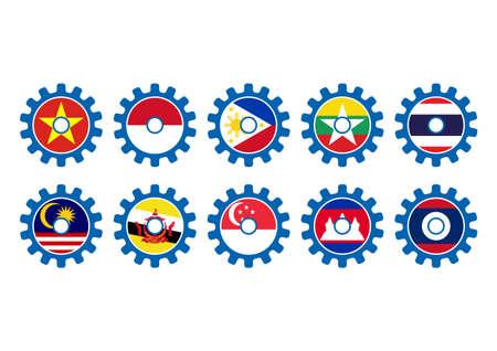 asean: ASEAN Economic Community, AEC business community forum gear, vector illustration in flat design