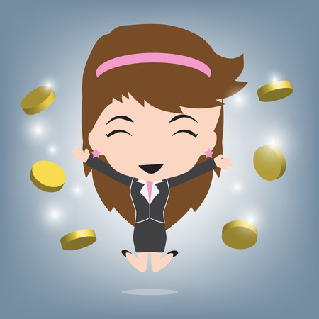 business woman happy and coins or money income, Business concept illustration vector in flat design