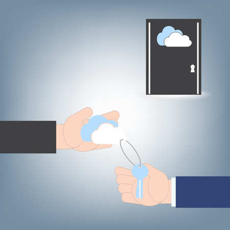 opening door: Businessman hand with key to another hand for opening door, cloud computing concept illustration vector in flat design Illustration