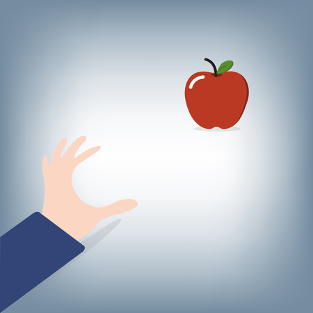 abstract of Businessman hand try to grab apple knowledge concept,vector illustration in flat design