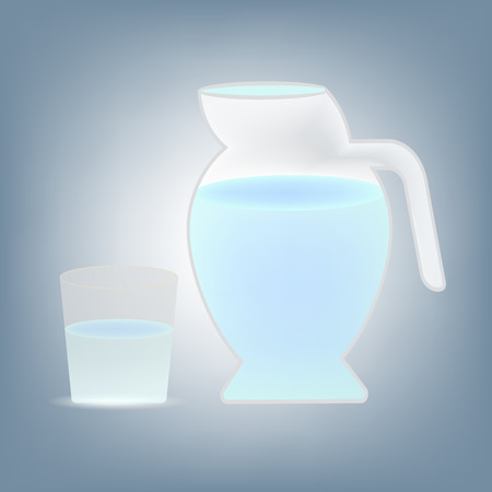 glass of water and jug, healthy concept illustration vector in flat design