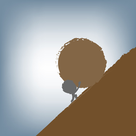 silhouette of Businessman pushing a huge stone uphill, vector illustration in flat design