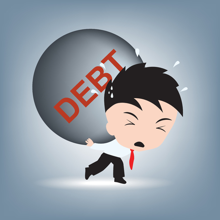 businessman need help with debt burden on his shoulder, financial concept illustration vector in flat design