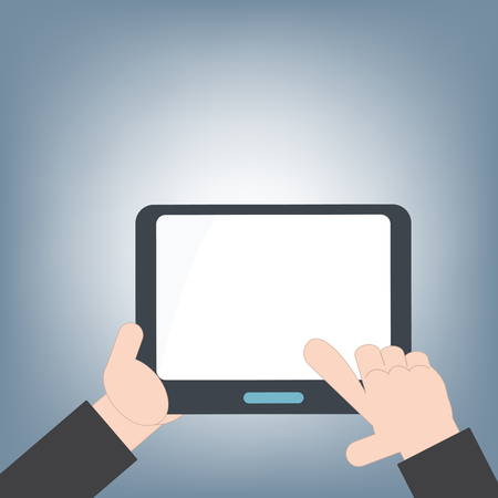 multitouch: tablet in hand and blank white screen for web and mobile applications, mobile technology background concept, illustration vector in flat design