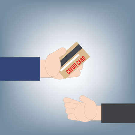 Hand giving or holding credit card money to another hand, financial loan concept, illustration vector in flat design