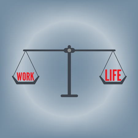 equal opportunity: work life balance wording on weight scale concept, vector illustration in flat design background