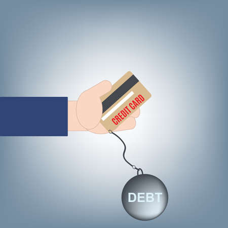 Hand giving or holding credit card money and debt, financial loan concept, illustration vector in flat design Ilustrace