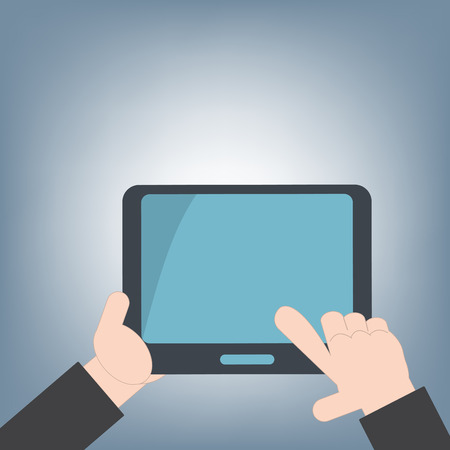 multitouch: tablet in hand for web and mobile applications, mobile technology background concept, illustration vector in flat design