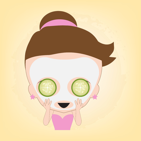 Woman happy with facial white mask with cucumber on face for spa healthy, illustration vector in flat design Ilustrace