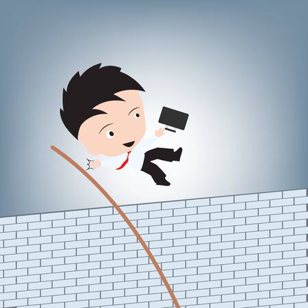 Businessman jumping cross brick wall for escape, creative obstacle concept illustration vector in flat design